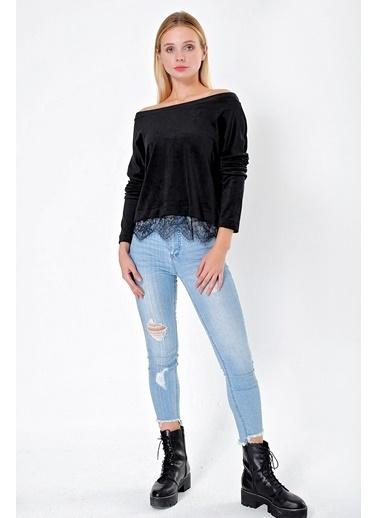 Jument Kadın Havlu Kadife Kayık Yaka Dantel Detaylı Uzun Kol Bluz-Siyah Siyah
